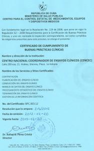 Certificado de Buenas Prácticas Clínicas otorgado por el CECMED