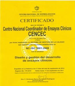 Certificado de la Oficina Nacional de Normalización