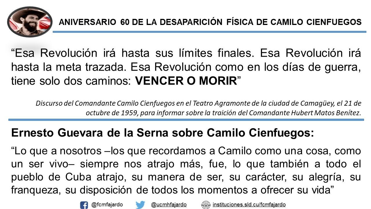 Aniversario 60 de la desaparición de Camilo Cienfuegos