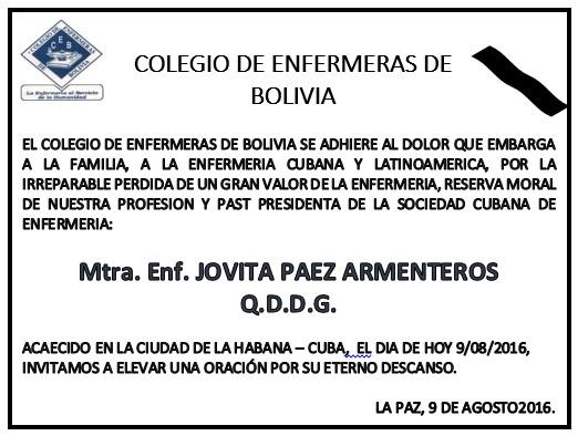 Condolencias Bolivia