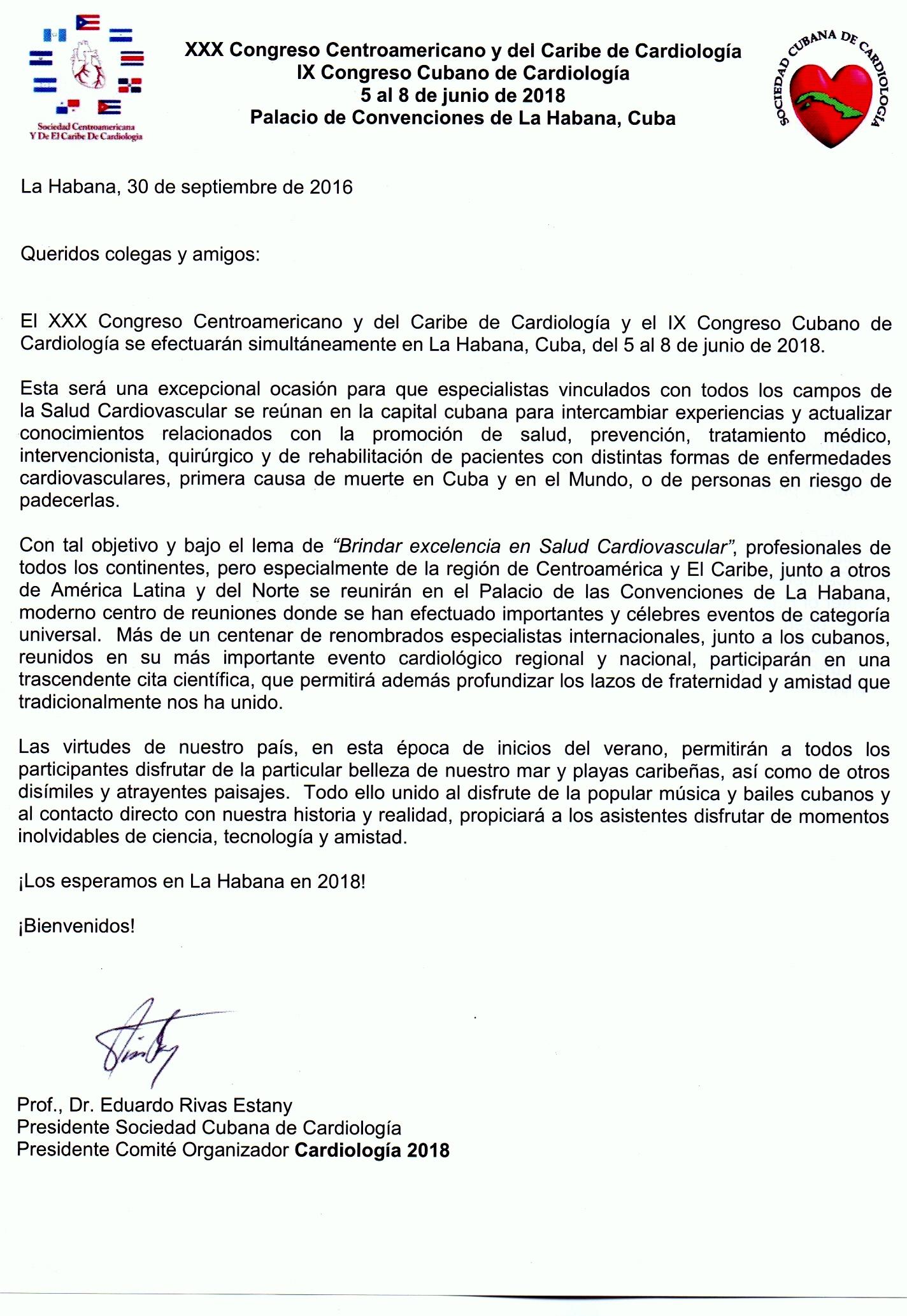 1er Anuncio Congreso XXX CCC Cardiologia y IX Cubano Cardiologia ESPAÑOL