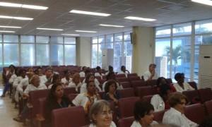 """Algunos de los participantes en el evento celebrado en el salón de actos del Cardiocentro Pediátrico """"William Soler"""""""