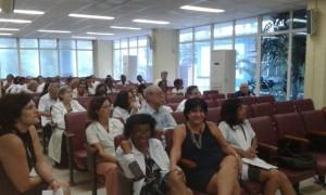 La presencia de nuestros más renombrados investigadores dio especial brillo a la Jornada, en la foto, la Prof. DraC. Consuelo  Macías, detrás el Prof. DrC. Porfirio Hernández Ramírez, junto a otros colegas, como la DraC. Ana María Amor Vigeil, y Dra. Andrea Menéndez Veitía, entre otros.