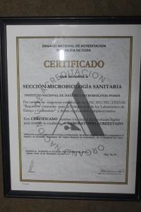 Certificado que acredita la condición de Laboratorio Acreditado por parte del Órgano Nacional de Acreditación de la República de Cuba.