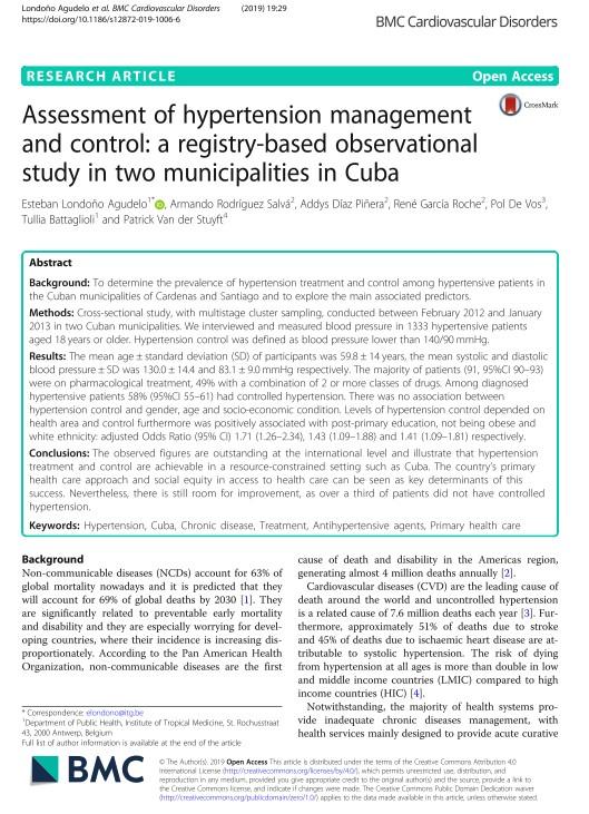 Evaluación del manejo y control de la hipertensión